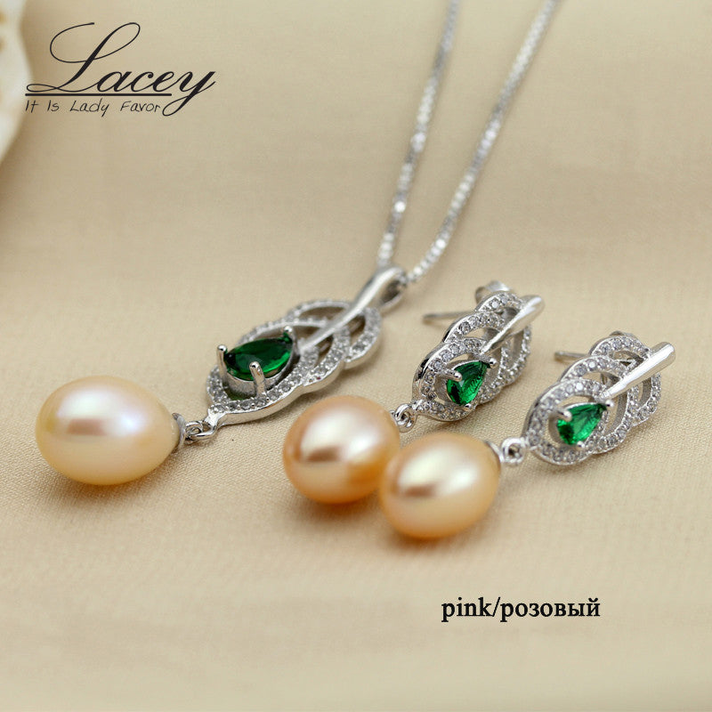 Lacey Freshwater Pearl Necklace Set 925 Sterling Silver
