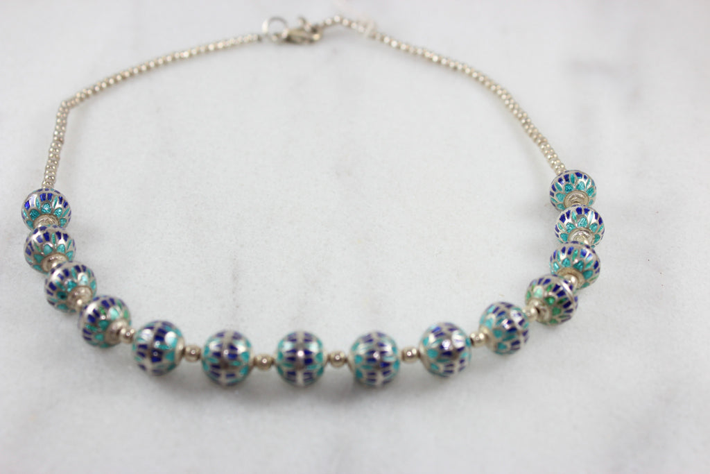 Sterling Silver Chain with crystal glass Beads Necklace