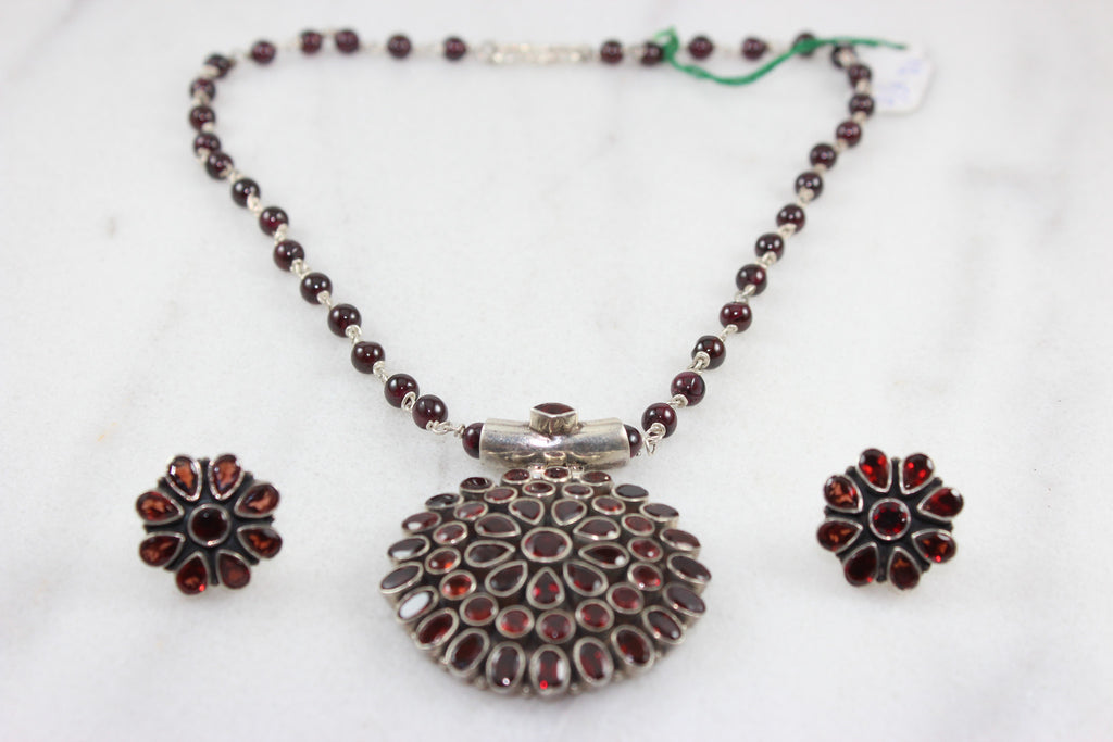 Sterling Silver Pendant Set with studded Stones
