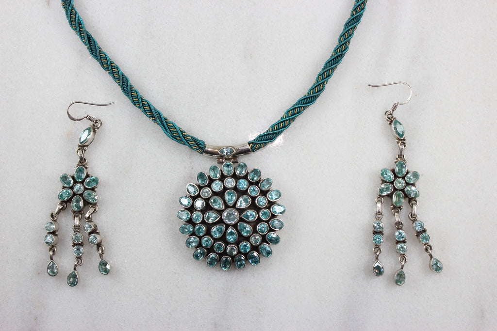 Sterling Silver Necklace Pendant Set with studded Stones