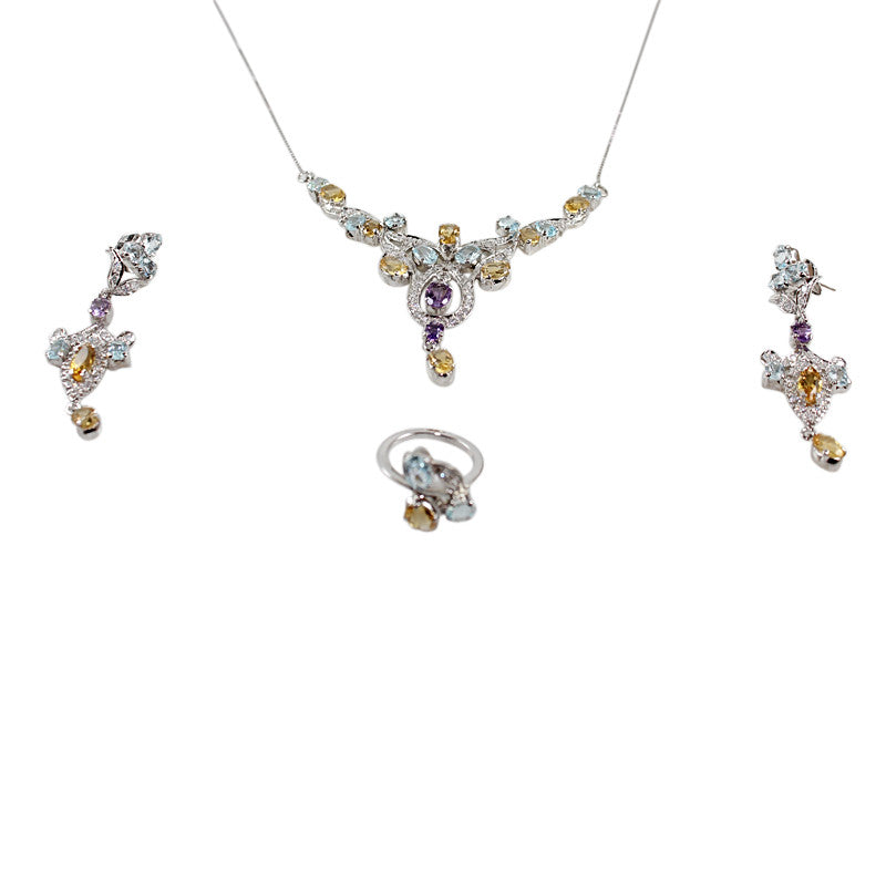 Sterling Silver Necklace Set with Gem Stones and a Ring