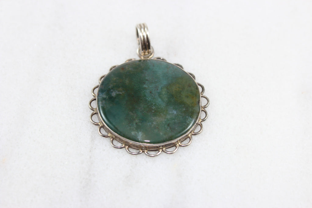Sterling Silver Orbed Pendant with Stone