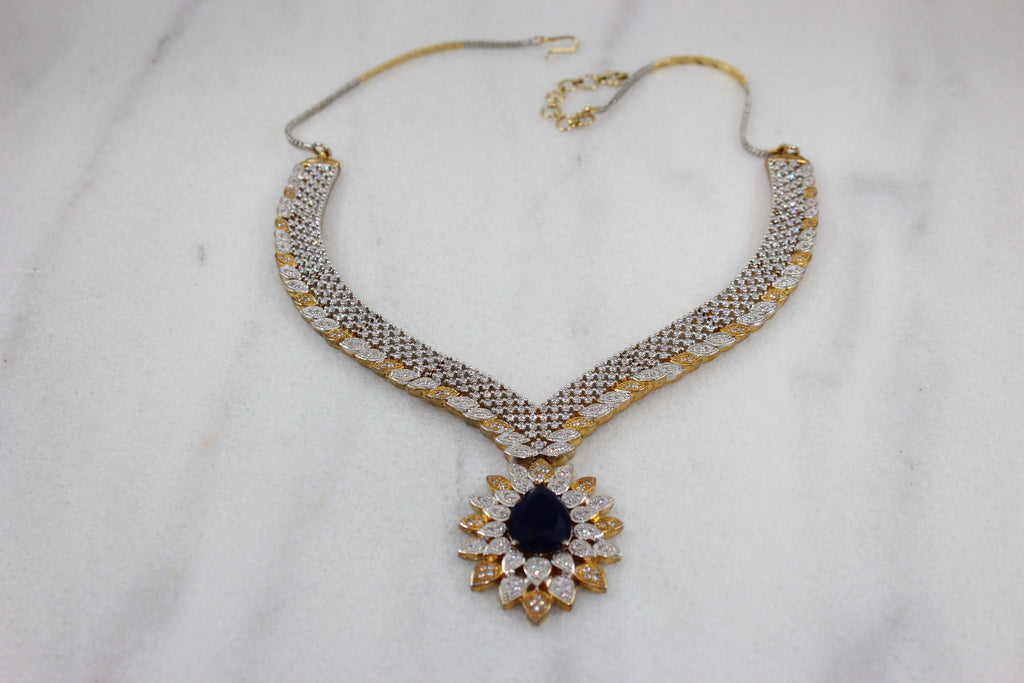 Glitz Celestial Gold and Silver Plated Statement Necklace Set