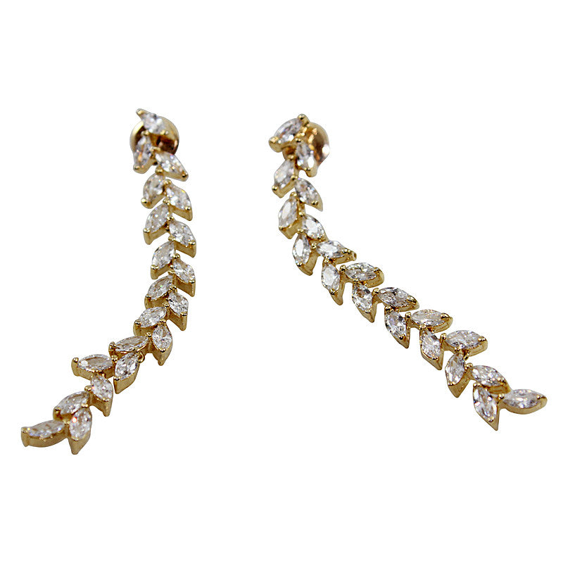 Sleek Statement Earrings Long in Crystal White CZ Stones