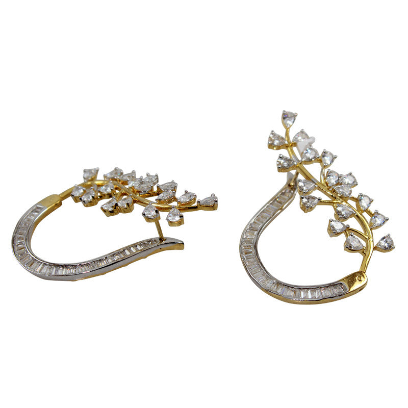 Curve Crystal White Statement Earrings