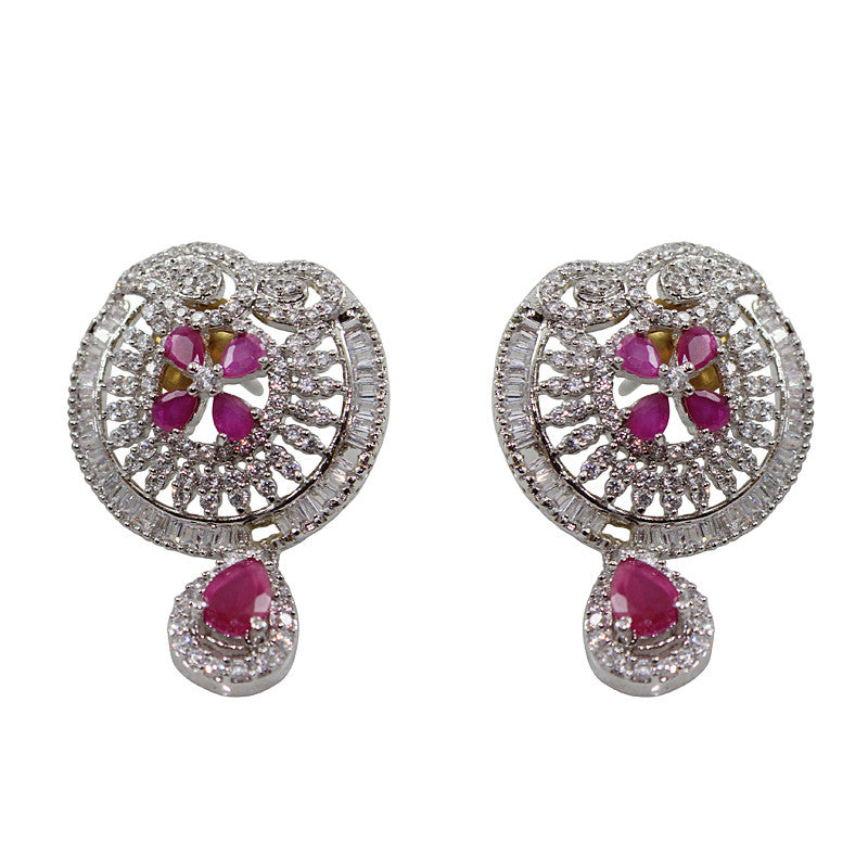 Round Vintage Maroon CZ Statement Studs Earrings