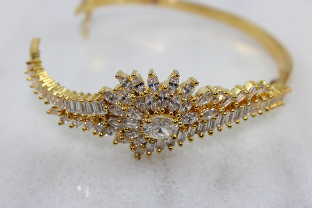 Ashen Gold plated White CZ Studded Bangle