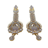 Pasty Statement Long Crystal White CZ Earrings