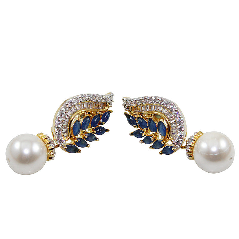 Wan White Pearl Earrings with Navy Blue Stone
