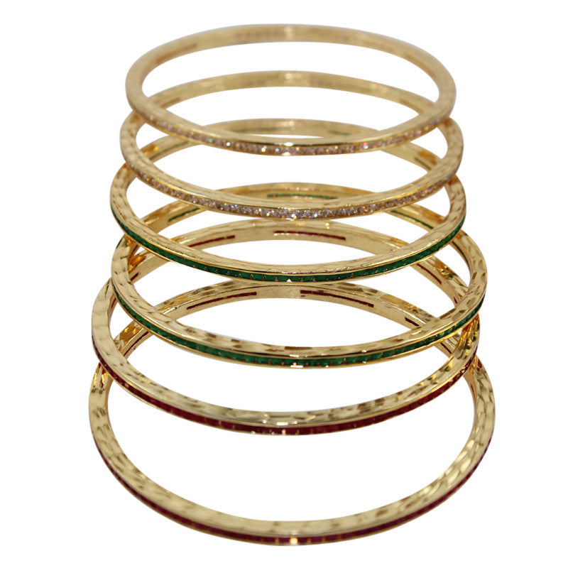 Cordon Red Green and White Studded Bangles Pair