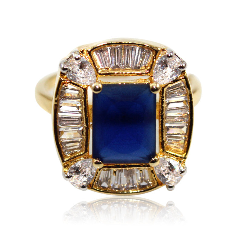 Gold Plated Navy Blue CZ Stone Ring