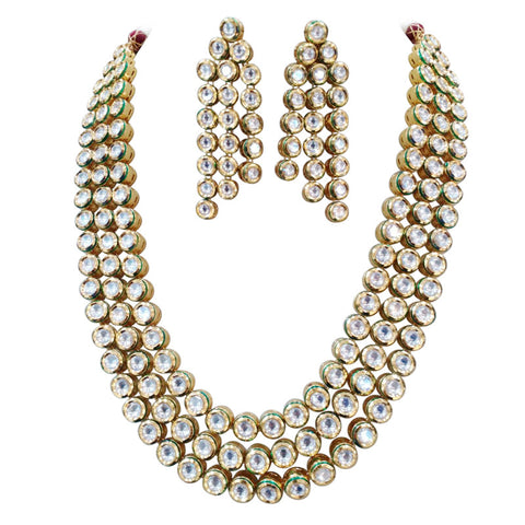 Glitz Brunet Pear shape Stones Statement Necklace Set