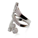 Halo Silver Plated Crystal White CZ Stone Ring