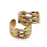 Aureole Gold and Silver with Crystal White CZ Stone Ring
