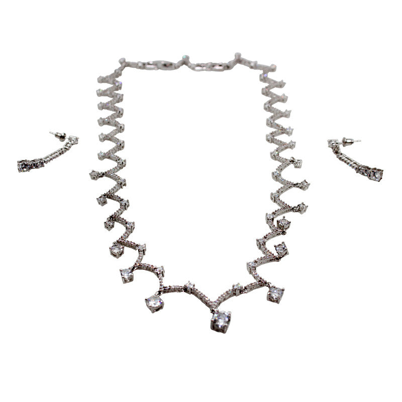 Glitz Curlicue Silver Plated Statement Necklace Set