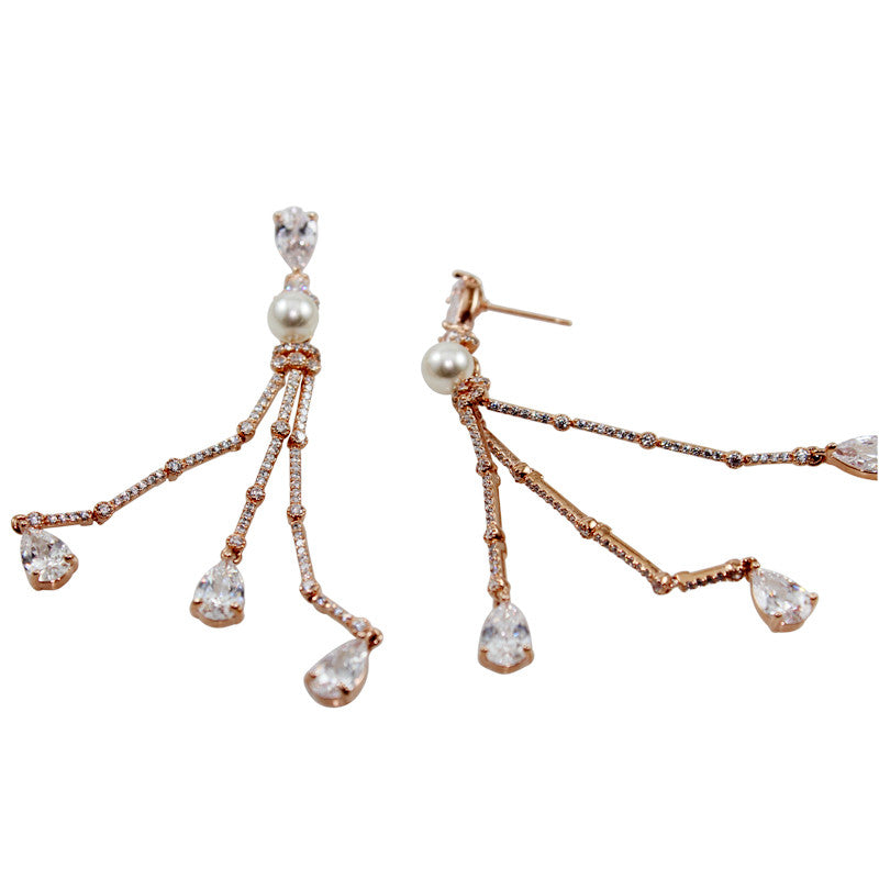 Trio Pearl Earrings in Crystal White CZ