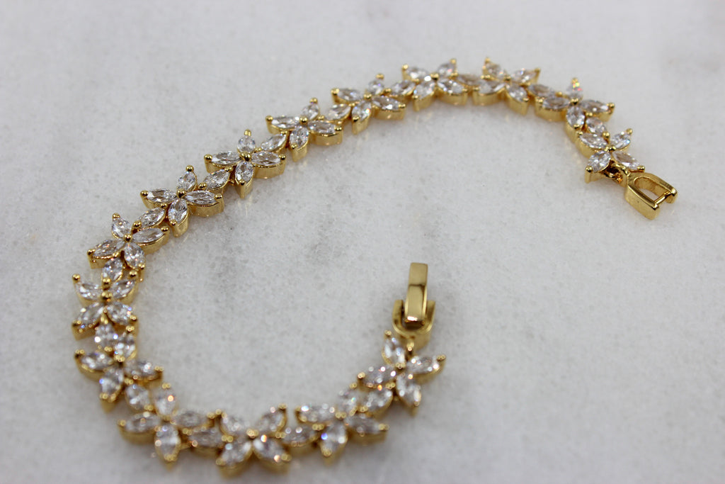 Star Gold plated Bracelet with Crystal CZ Stones