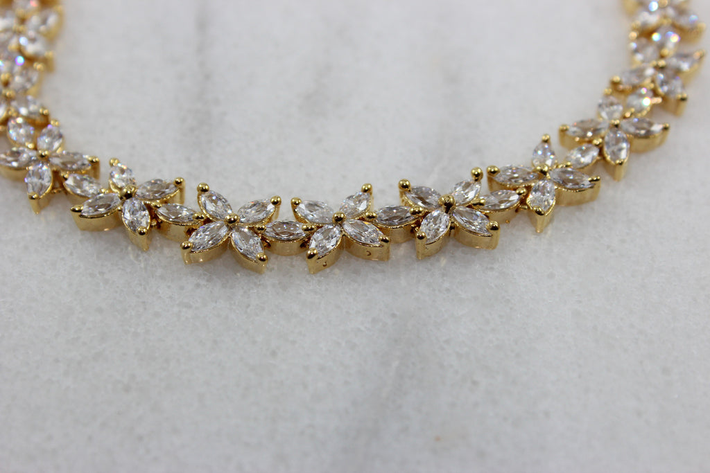 Opal Star Gold plated Bracelet with Crystal CZ Stones