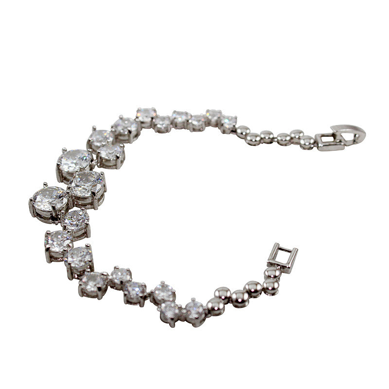 Opal Silver Platted Bracelet with Crystal CZ Stones
