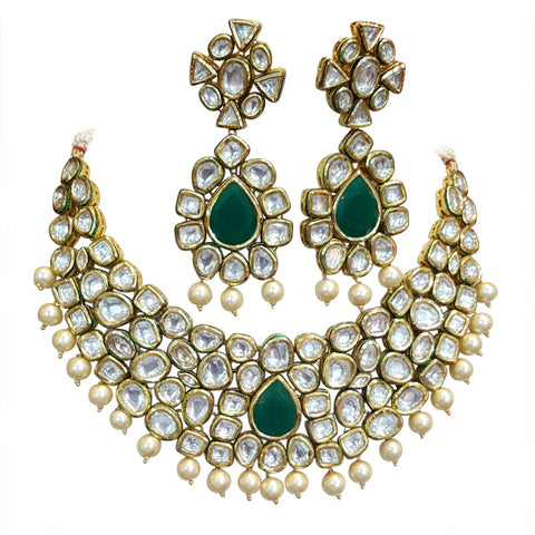 Riviere Kundan Crimson Vintage Statement Necklace Set