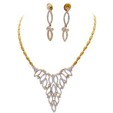 Glitz Lance Oblong Gold Plated with CZ Stone Necklace Set
