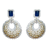 Ashen Crystal CZ with Gold plated Earrings
