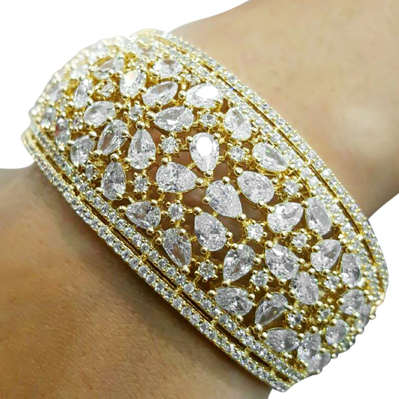 Contour Limpid Gold plated Crystal Studded Stones Bangles