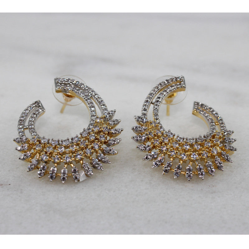 Ashen Curl Studded with CZ gemstones Earrings