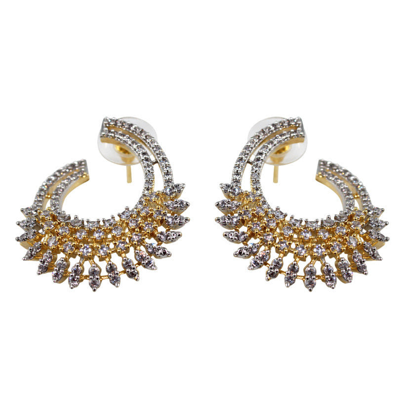 Ashen Curl Studded with CZ Gemstone Earrings