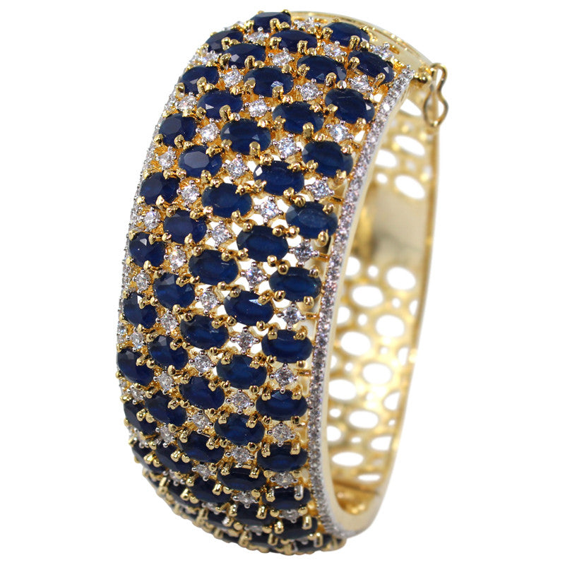 Contour Curled CZ Studded Bangles in Navy
