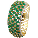 Contour Curled CZ Studded Bangles in Jade