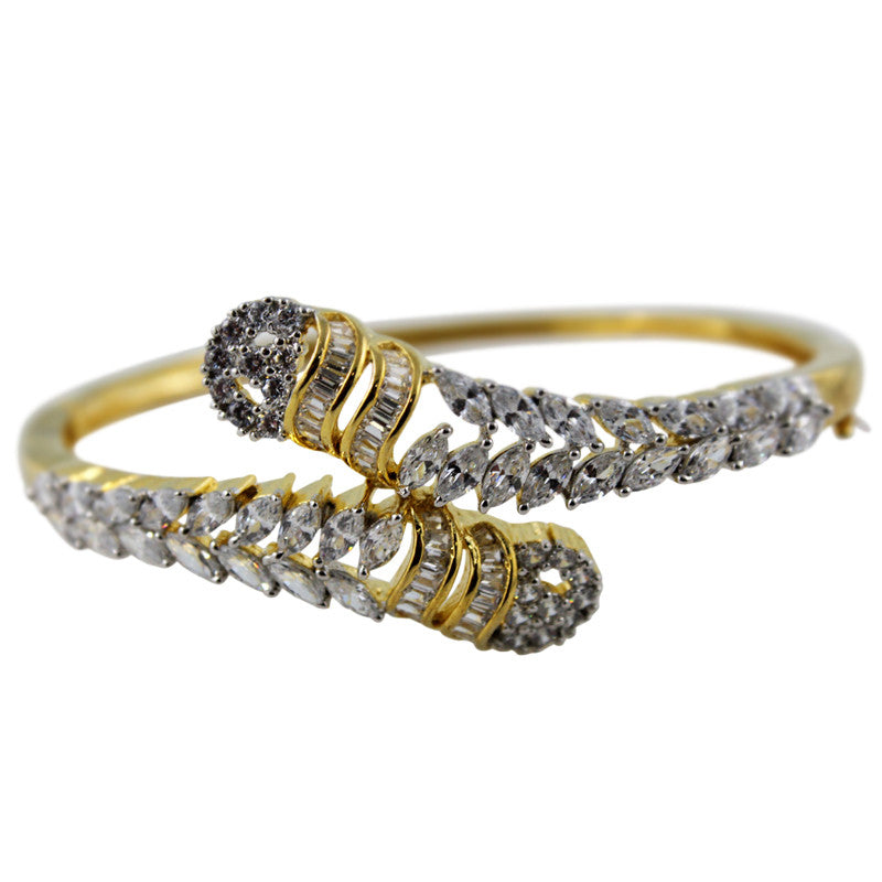 Ashen Duo Gold plated White CZ Studded Bangle