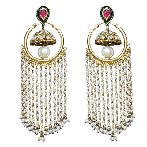 Ashen Amour Earrings with Ruby Red CZ Stones