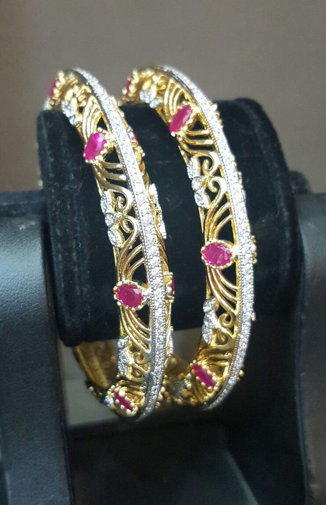 Cordon Ruby Gemstone Studded Bangles Pair