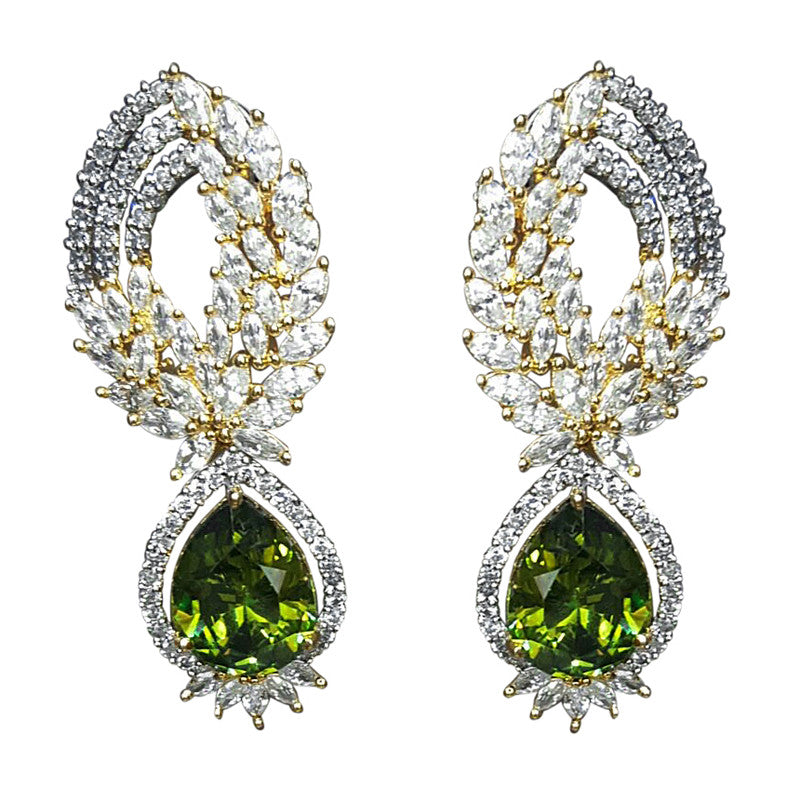 Ashen Tear Drop Studded with CZ gemstones Earrings