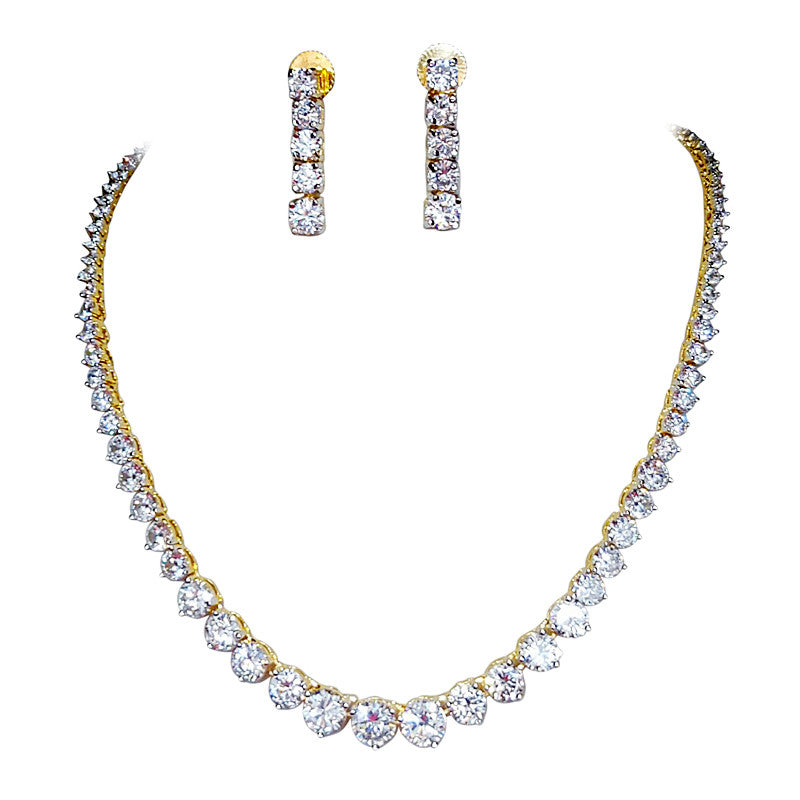 Glitz Round shape Stone Statement Necklace Set