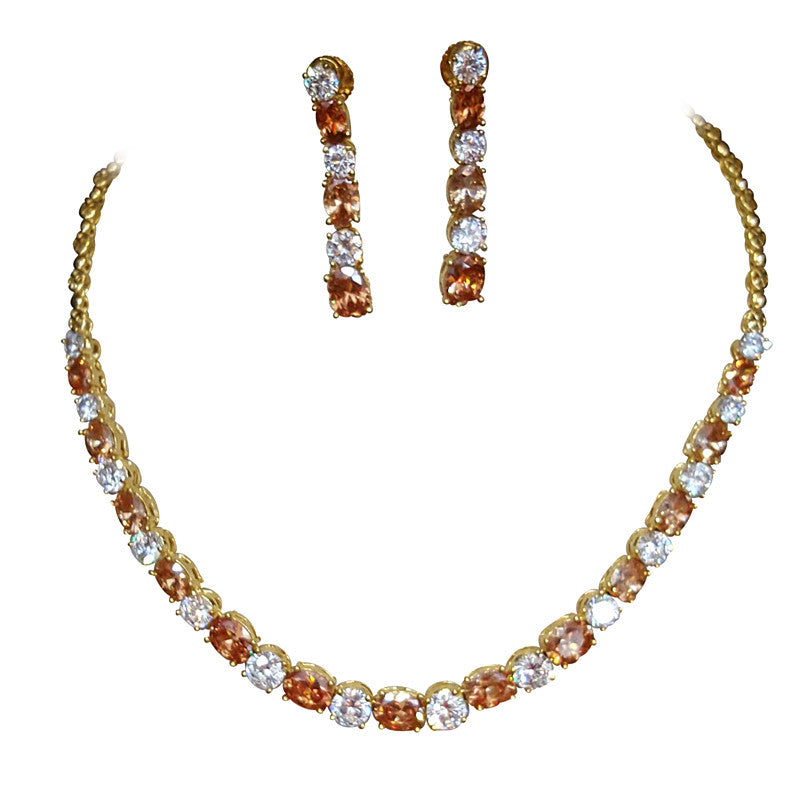 Glitz Oval shape Stone Statement Necklace Set