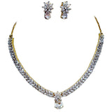 Glitz Marquise and Pear shape Stones Statement Necklace Set