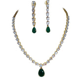 Glitz Pear shape Stone Statement Necklace Set