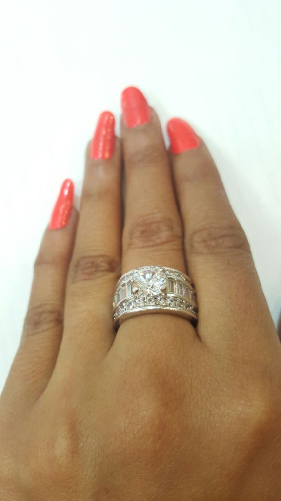Corona Silver Braid with Crystal White CZ Stones Ring