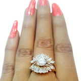Corona Gold Brace with Crystal White CZ Stones Ring