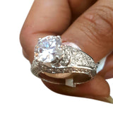 Corona Silver Swirl with Crystal White CZ Stones Ring