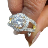 Corona Timbre with Crystal White CZ Stones Ring
