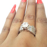 Corona Silver Arc with Crystal White CZ Stones Ring