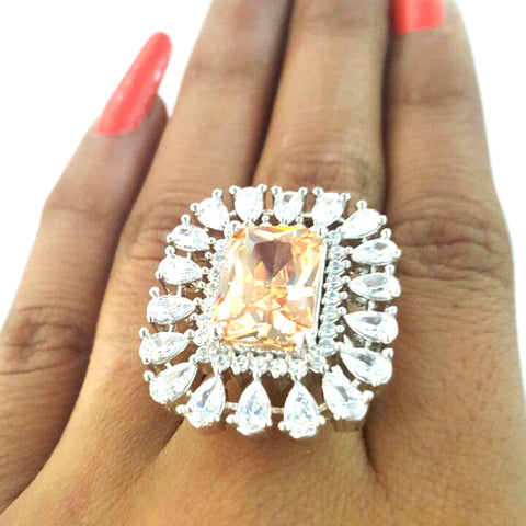 Corona Vintage with Crystal White CZ Stones Ring