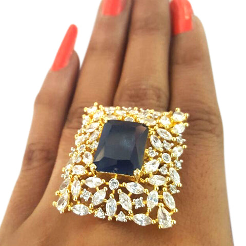 Corona Bold Nip with Crystal CZ Stones Ring