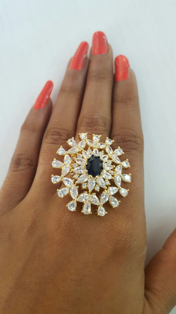 Corona Bold Azure studded with CZ Stones Ring