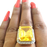 Corona Bold Oblong with Crystal CZ Stones Ring