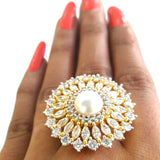 Corona Bold Lacuna Pearl with Crystal CZ Stones Ring