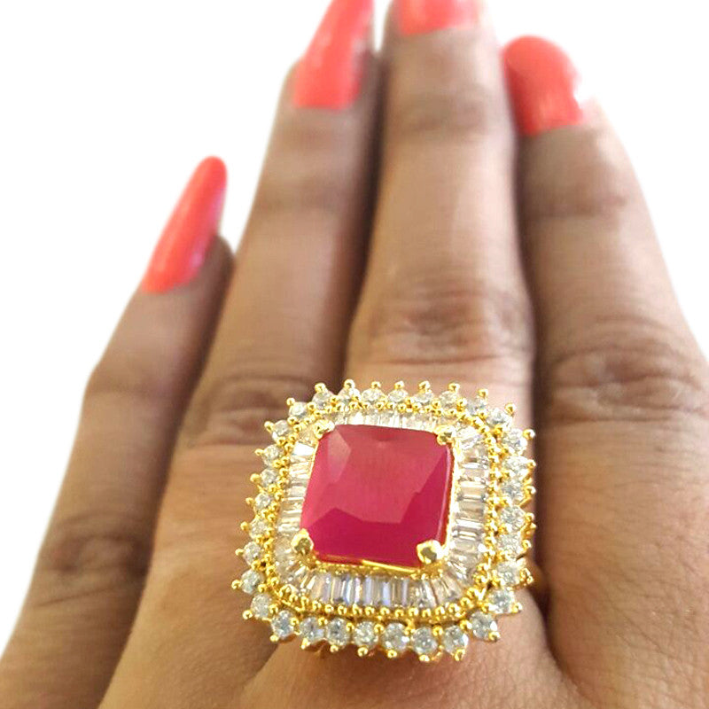 Corona Bold Crimson Square with Crystal CZ Stones Ring